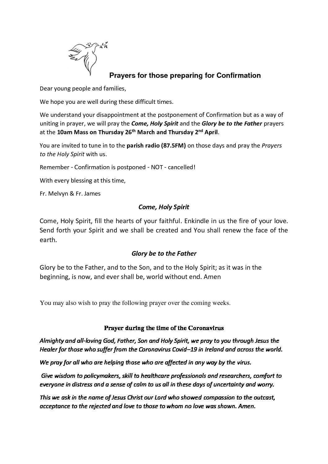 Prayers from Fr. James do Rang 6
