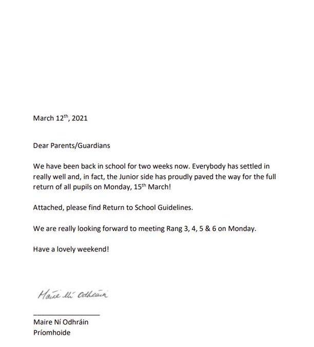 RETURN TO SCHOOL GUIDELINES